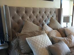 White King Headboard Upholstered by Gray Velvet King Headboard Black Grey Size Coccinelleshow Com