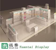 Modern Rack Design Wooden Clothing Display Kiosk For Clothes Store Decoration