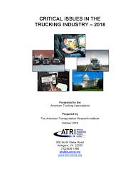 100 North American Trucking Critical Issues In The Industry 2018