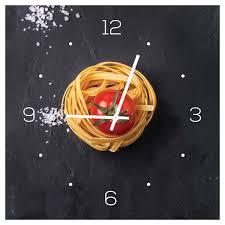 wanduhr aus glas 30x30cm uhr glasbild küche pasta nudeln