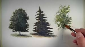 Types Of Christmas Trees With Pictures by How To Paint Trees With Watercolor Youtube