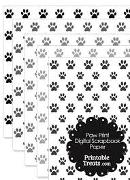 Grey Paw Print Digital Scrapbook Paper From PrintableTreats
