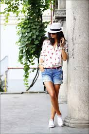 women u0027s red and white print button down blouse blue ripped denim