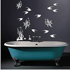 hhzdh fisch algen blase muscheln aufkleber badezimmer