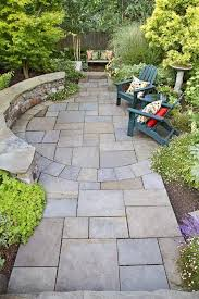 I LOVE This Patio The Side Garden Used To Be A Grassy Slope Worn Ragged By SlipN Slide And Dog Play Designer Phil Wood Stone For Paving