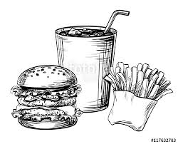 Sandwich hamburger or burger fast food French fries and drink soda Hand drawing