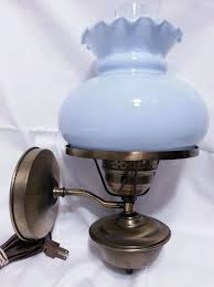 Antique Hurricane Lamp Globes by Student Wall Lamp Antique Brass Finish Eggshell Blue Milk Glass