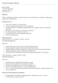 Sample Manufacturing Resume Job Supervisor Description For Sales Production