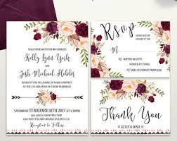 Boho Wedding Invitation Printable Floral Invite Burgundy Blush Suite Rustic Bohemian