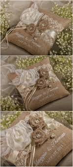 Rustic Country Burlap Wedding Ring Bearer Pillow 4LOVEPolkaDots
