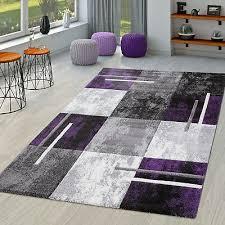 moderner teppich wohnzimmer mit konturenschnitt in lila grau schwarz ebay