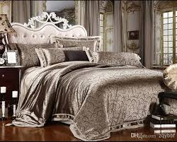 6cs Noble Jacquard Satin Silk King Bed Sheets Bedding Set Quilt