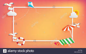 Paper Craft Of Summer Banner As Horizontal Frame Contain White Border Sunset Light Shining On Background And All Objects Are Floating Over