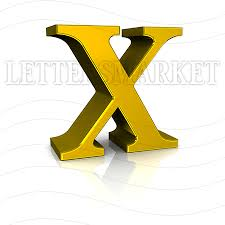 LettersMarket 3D Gold Letter X isolated on a white background