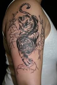 Grey Ink Chinese Tiger Tattoo On Right Half Sleeve