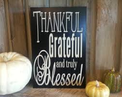 Thankful Grateful And Truly Blessed Fall Harvest Wood Sign Decor Thanksgiving Home