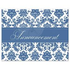 100 Small And Elegant Wedding Cancellation Card Blue And White Damask