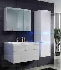 badmöbel set prestige 1 weiß hochglanz lackiert keramik waschbecken badezimmer led beleuchtung badezimmermöbel lack spiegelschrank