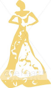Yellow Dress Clipart Vintage Bridal 1