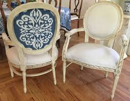 Pair Of French Style Chairs In Linen Blend With Contrasting Linen On Back -  Totally Refurbished - Shipping Varies
