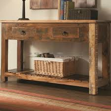 Rustic Reclaimed Wood Console Table With Drawers