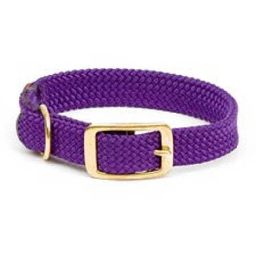 "Mendota Pet Double Braid Collar: Purple, 1""W Up to 18"""
