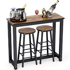 Tribesigns 3 Piece Pub Table Set Counter Height Dining With 2 Bar