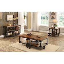 Coffee Table Storage Rustic Wooden Sofa Tables Industrial Media
