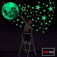 leuchtsticker wandtattoo 435pcs leuchtsterne punkten und mond wandsticker wandaufkleber diy für schlafzimmer jungen mädchen kinderzimmer