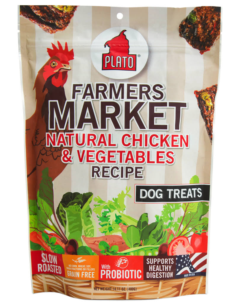 Plato Farmers Market Dog Treats - Chicken & Vegetables, 400g