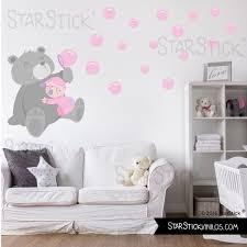 stickers ours chambre bébé sticker enfant ours avec des rosa