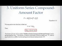 Sinking Fund Factor Calculator by Lesson 1 Video 4 Uniform Series Compound Amount Factor Youtube