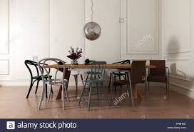 Modern Dining Room Interior With Simple Wooden Table And ... Mismatched Ding Chairs Mismatched Chairs A Ding Arrangement Of Personal Style The Story Of My Stacy Risenmay 85 Best Room Decorating Ideas Country Decor Gallery Interior Inspiration For Dc Metro Contemporary White Dorable Mix Tables Chairsgood And Table Design 5 Tips To Pulling Off Dning Chair Trend Folding Image Photo Free Trial Bigstock