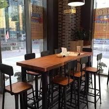 Buy American Iron Loft Wood Long Table Starbucks Tall Bar Chairs Stool Coffee Dining In Cheap Price On Malibaba
