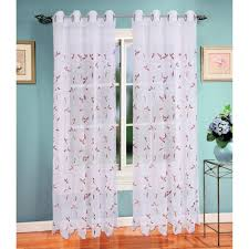 Burgundy Grommet Blackout Curtains by Window Elements Sheer Birch Leaf Embroidered Sheer 54 In W X 84