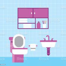 bad wc waschbecken papier möbel schrank und blauen fliesen wand stock vektor und mehr bilder badewanne