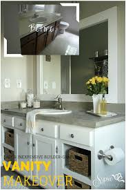 Old Builder Grade Bathroom Vanity Makeover (Plus Tutorial!) - Sypsie ... Bathroom Vanity Makeover A Simple Affordable Update Indoor Diy Best Pating Cabinets On Interior Design Ideas With How To Small Remodel On A Budget Fiberglass Shower Lovable Diy Architectural 45 Lovely Choosing The Right For Complete Singh 7 Makeovers Home Sweet Home Outstanding Light Cover San Menards Black Real Bar And Bistro Sink Pictures Competion Pics Bathrooms Spaces Decor Online Serfcityus