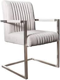 invicta interior freischwinger stuhl big aston grau federkern mit armlehne edelstahl gestell esszimmerstuhl stuhl
