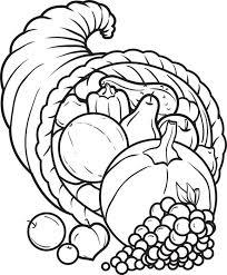 Printable Thanksgiving Coloring Page Of A Big Cornucopia