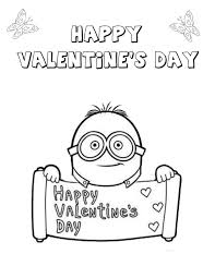 Minion Valentines Heart Coloring Page
