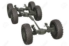 100 Truck Suspension Military Chassis Undercarriage 3D Rendering Stock