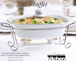 Amazon Circleware Ceramic Cookware Chafer Buffet Server Warmer Baker Serving Tray With Glass Lid And Metal Stand 25 Quart 12 W X 11 D 5