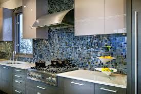 contemporary mosaic backsplash with glass cabinets kitchen