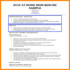 Resume Samples For Stay At Home Moms Returning