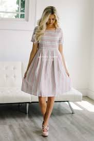pink gray cotton sundress modest dress best online modest