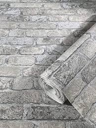 steintapete grau backstein ziegelstein 3d effekt für