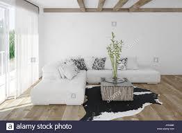 moderne gemütliche helle weiße wohnzimmer mit einem tier