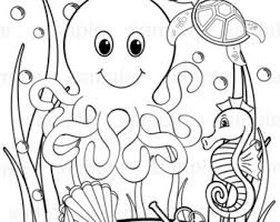 Personalized Printable Under The Sea Birthday Party Favor Childrens Kids Coloring Page Activity PDF Or JPEG