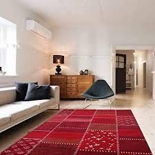 mynes home kurzflor teppich rot groß mit vintage patchwork design hochwertige webung geeignet für wohnzimmer und andere räumlichkeiten öko tex