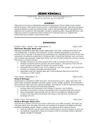 Restaurant Resume Samples Sample Pattern General Manager